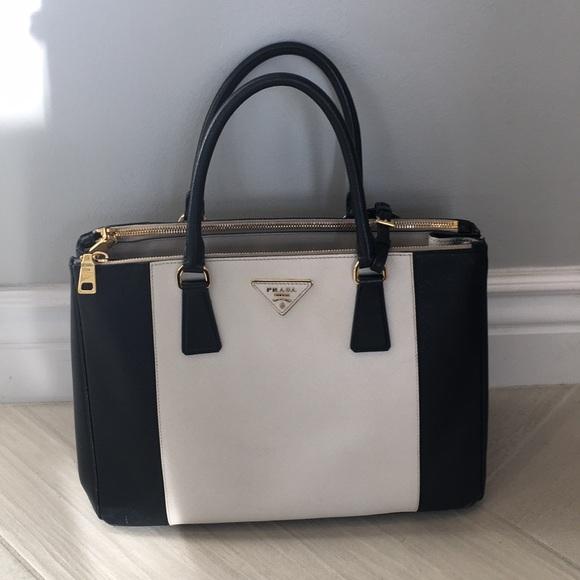 395e7bca46d01d Prada Saffiano Lux Handbag in Nero and Talco. M_5c4c76bf8ad2f94a8ca4b31f